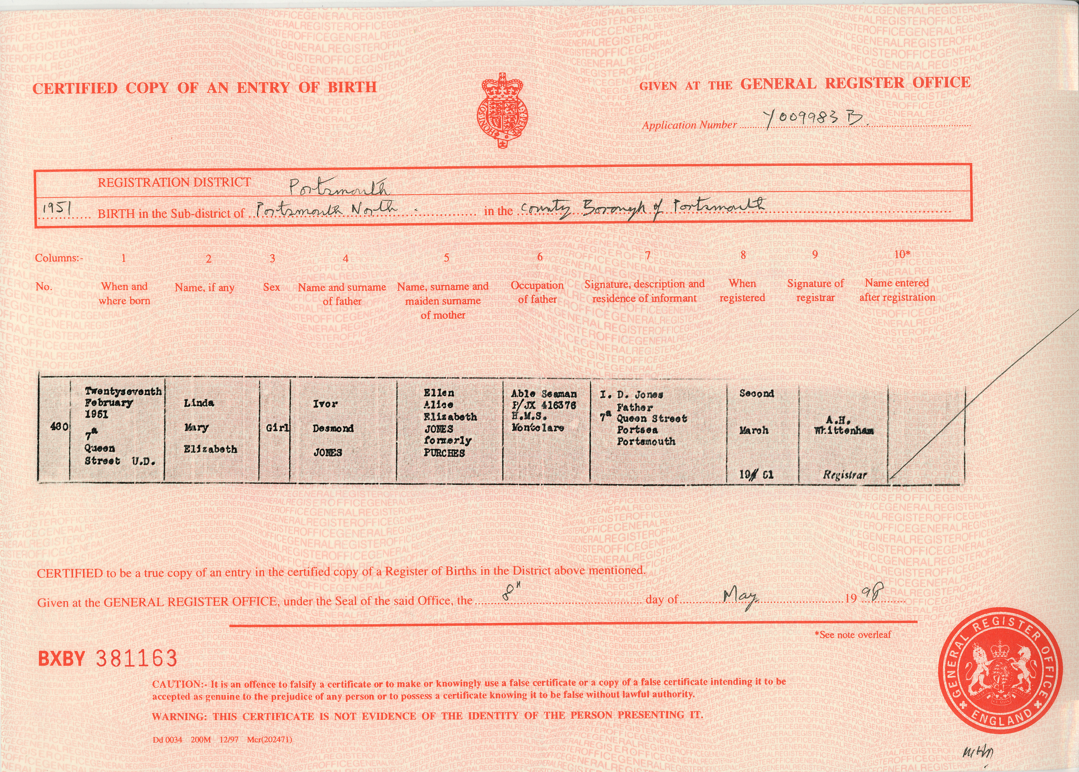 Linda mary elizabeth jones 27 february 1951 rick and - General register office birth certificate ...
